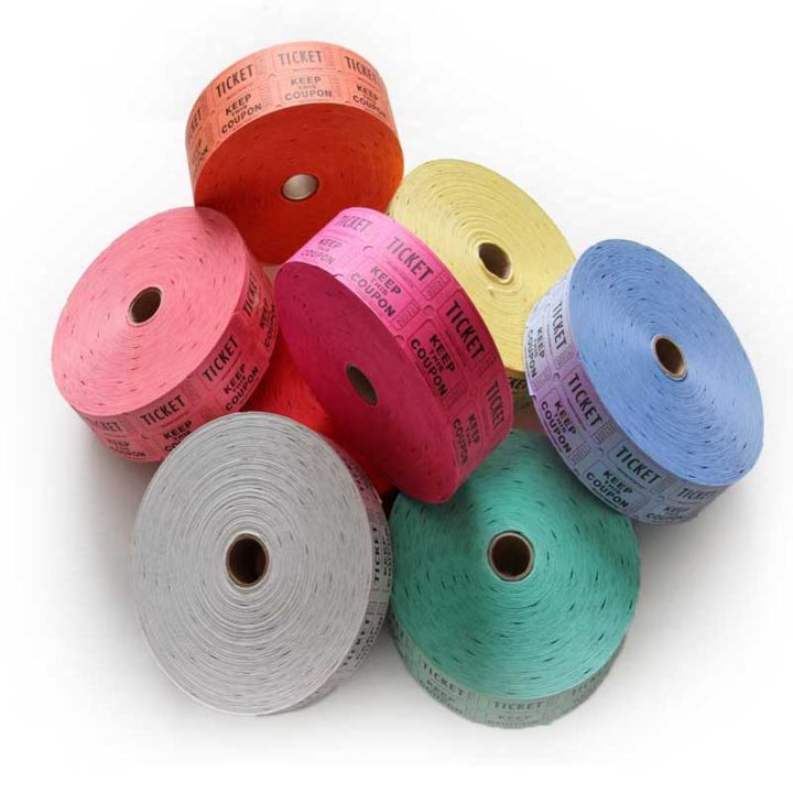 various colors of penny roll tickets