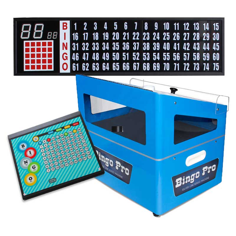 blue econo bingo machine combination includes portable flashboard, control panel & set of bingo balls