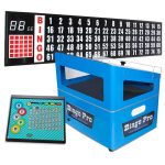 blue econo machine combination includes portable flashboard, control panel & set of bingo balls