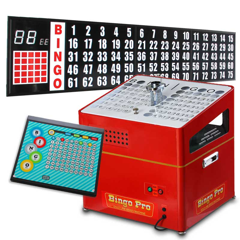 red mid priced bingo system including portable flashboard and control pad