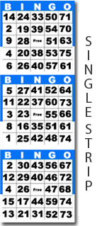 Single Strip Bingo Cards & Paper