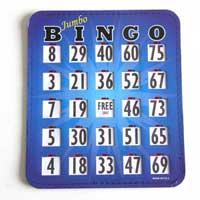 Bingo Cards & Paper showing a Jumbo 8″x9″ card