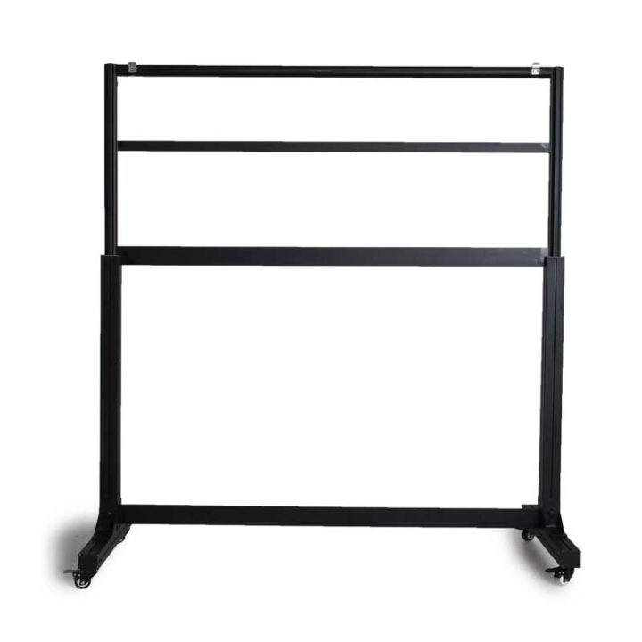 Rectangular Flashboard Stand with 4 roller legs.