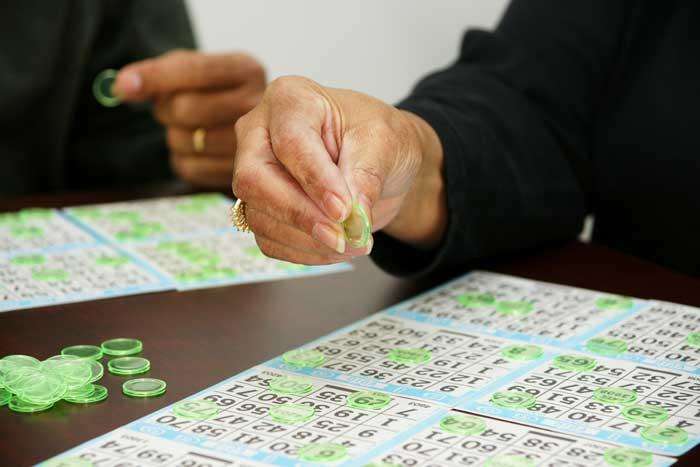 Seniors playing bingo